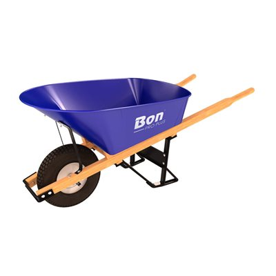 STEEL TRAY WHEEL BARROW - 6 CU FT - SINGLE KNOBBY TIRE WOOD HANDLE