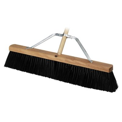 "CONCRETE BROOM - HEAVY DUTY 18"" WITH 5' WOOD HANDLE"