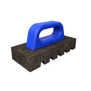 "FLUTED RUB BRICK - 8"" x 3 1/2"" x 1 1/2"" - 20 GRIT WITH PLASTIC HANDLE"