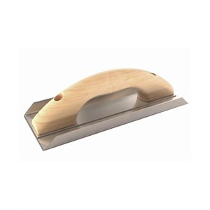 "ANGLE FLOAT - STAINLESS STEEL 10"" x 4"" - 3/4"" LIP WOOD HANDLE"