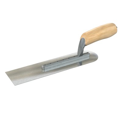 "PIPE TROWEL - 12"" x 3"" WITH STRAIGHT WOOD HANDLE"