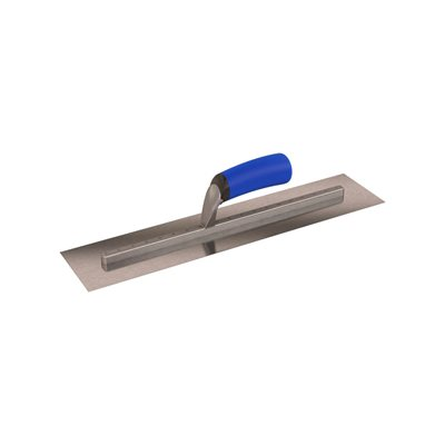 "SQUARE END FINISHING TROWEL - 18"" x 4"" - LONG SHANK WITH COMFORT GRIP HANDLE"