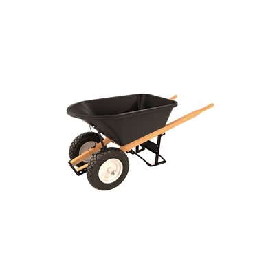 POLY TRAY BARROW - 5 3/4 CU FT - DOUBLE FLAT FREE TIRE WOOD HANDLE