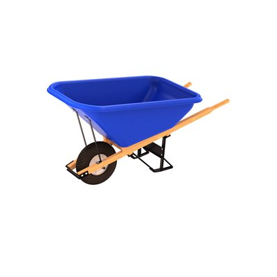 POLY TRAY BARROW - 8 CU FT TRAY - SINGLE KNOBBY TIRE WOOD HANDLE