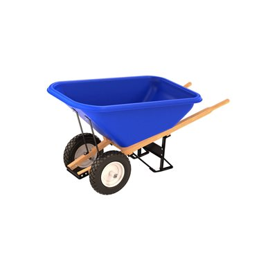 POLY TRAY BARROW - 8 CU FT TRAY - DOUBLE FLAT FREE TIRE WOOD HANDLE