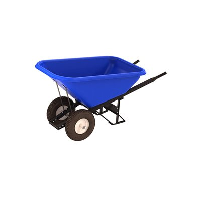 POLY TRAY BARROW - 8 CU FT TRAY - DOUBLE KNOBBY TIRE STEEL HANDLE