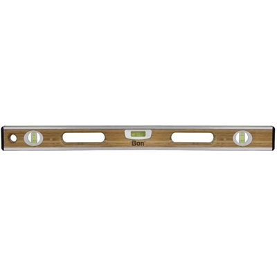 "BAMBOO WOOD LEVEL - 24"" ALUMINUM BOUND"