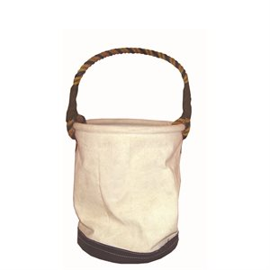 CANVAS TOOL BUCKET- HEAVY DUTY WITH LEATHER BOTTOM