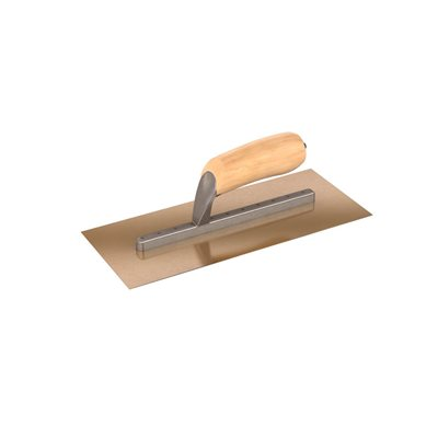 "STAINLESS STEEL TROWEL - 12"" x 5"" WITH WOOD HANDLE"