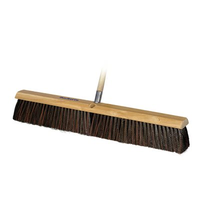 "GARAGE BROOM - RED/BLACK PLASTIC BRISTLES - 24"" WITH 5' WOOD HANDLE"