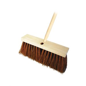 "STREET BROOM - BROWN POLY 24"" WITH 5' WOOD HANDLE"