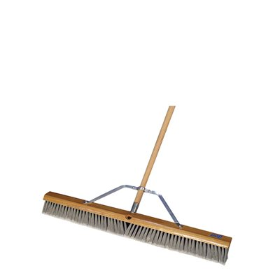 "HEAVY DUTY SILVER TIP FLAGGED BROOM - 18"" WITH 5' WOOD HANDLE"