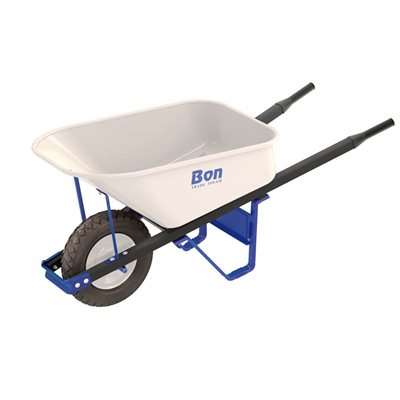 TRADE TOUGH™ STEEL TRAY WHEEL BARROW -  6 CU FT - SINGLE FLAT FREE TIRE - STEEL HANDLE